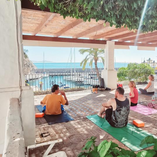 Joyful yoga mood