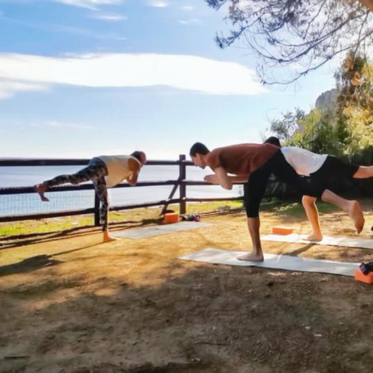 Yoga balance outodoors