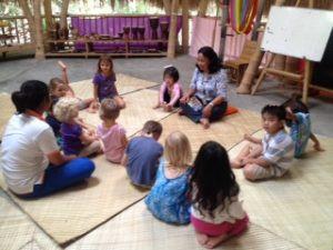 Ibu Suci teaching us about Indonesian culture