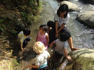 Splashing in the river
