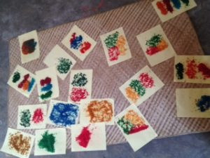 Making coloured rice for our instruments