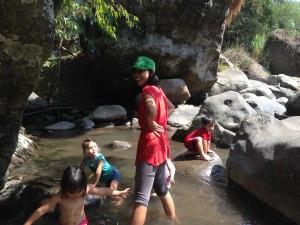 Enjoying a refreshing dip in the river