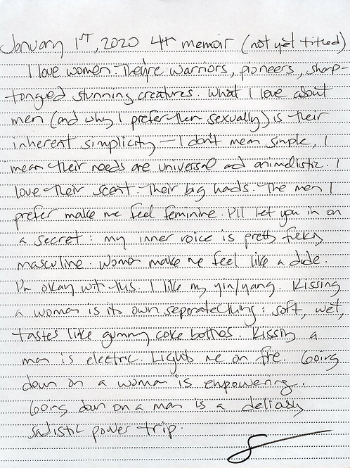 "Hand-written piece ""I love women"""