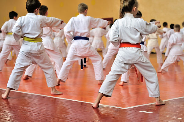 Kids training on karate-do. Banner with