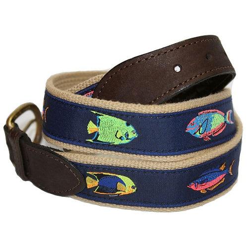 Woven Ribbon Belts Tropical Fish