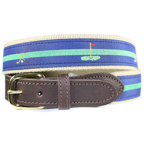Woven Ribbon Belts Cross Club & Green