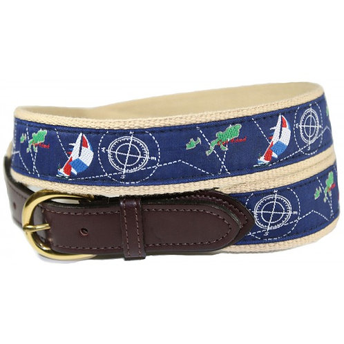 Woven Ribbon Sail & Ship Compass Chart Nautical Belt