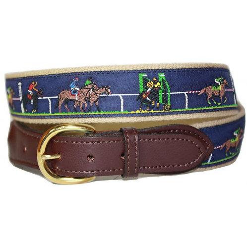 Woven Ribbon Racing Horses Belt