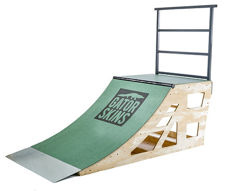 "Quarter Pipe Shown is a 3'-0"" tall x 4'-0"" wide ramp with Green Gatorskins Ramp Surfacing in Green. Optional Steel Railiing.n"