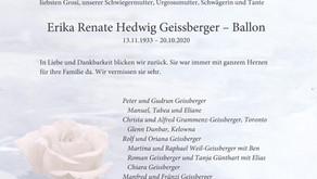 Erika Renate Hedwig Geissberger-Ballon 13.11.1933-20.10.2020