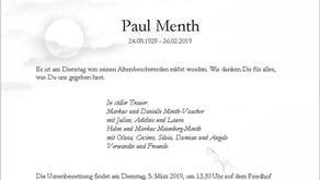 Paul Menth 24.9.1929-26.2.2019