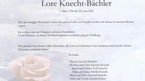 Lore Knecht-Bächler 5.3.1936-28.6.2021