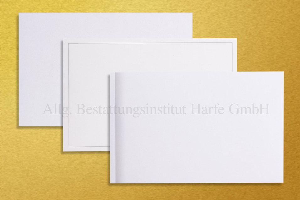 Couverts für Trauerdrucksachen «Weiss», «Linie», «Schattenrand»