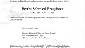 Bertha Schmied-Bruggisser 2.3.1929-19.10.2019