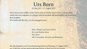 Urs Born 29.5.1937-17.8.2019