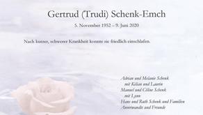 Gertrud Schenk 5.11.1952-9.6.2020