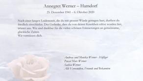 Annegret Werner-Hamdorf 25.12.1941-6.10.2020