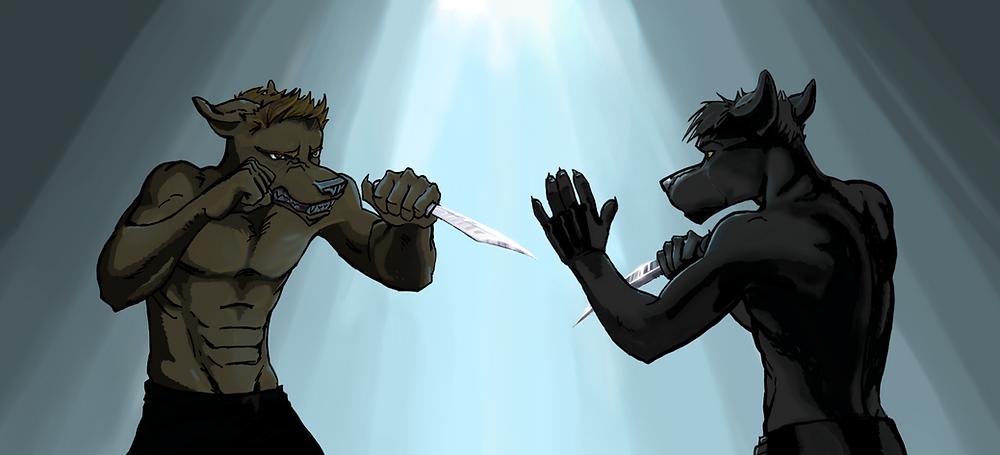 Spade, from The Meddler, knife fight