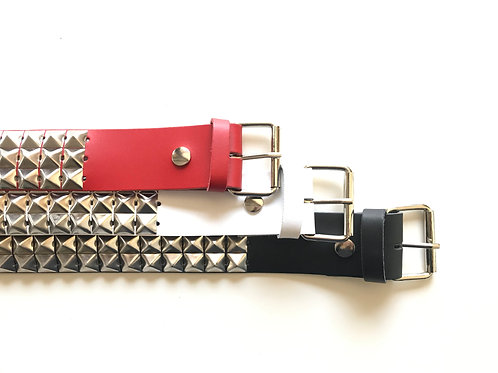 3 rows Pyramid Studded Belt