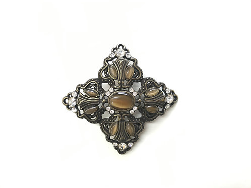 Flower with Crystals and Stones Buckle