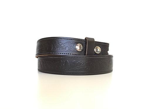 Dark Brown Detachable Buckle Embossed Belt