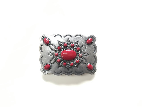 Silver with Red Stones