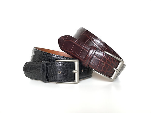 Croc Pattern Leather Belt