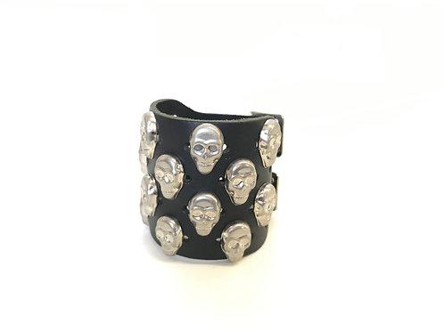 4 rows Skull Studded Wristband