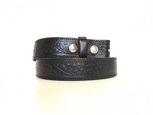 Black Detachable Buckle Embossed Belt