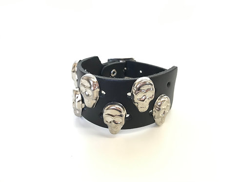 2 rows Skull Studded Wristband