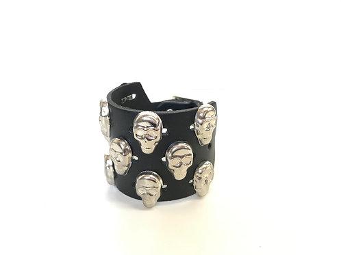 3 rows Skull Studded Wristband