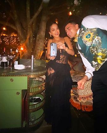Rita Ora wears JOSHUA JAMES SMALL to a p