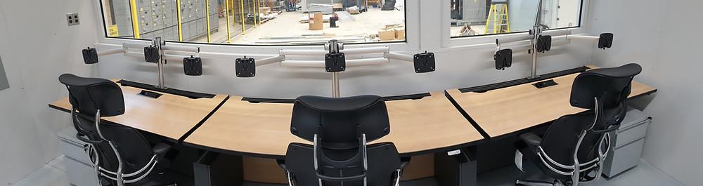 linear control room furniture configuration
