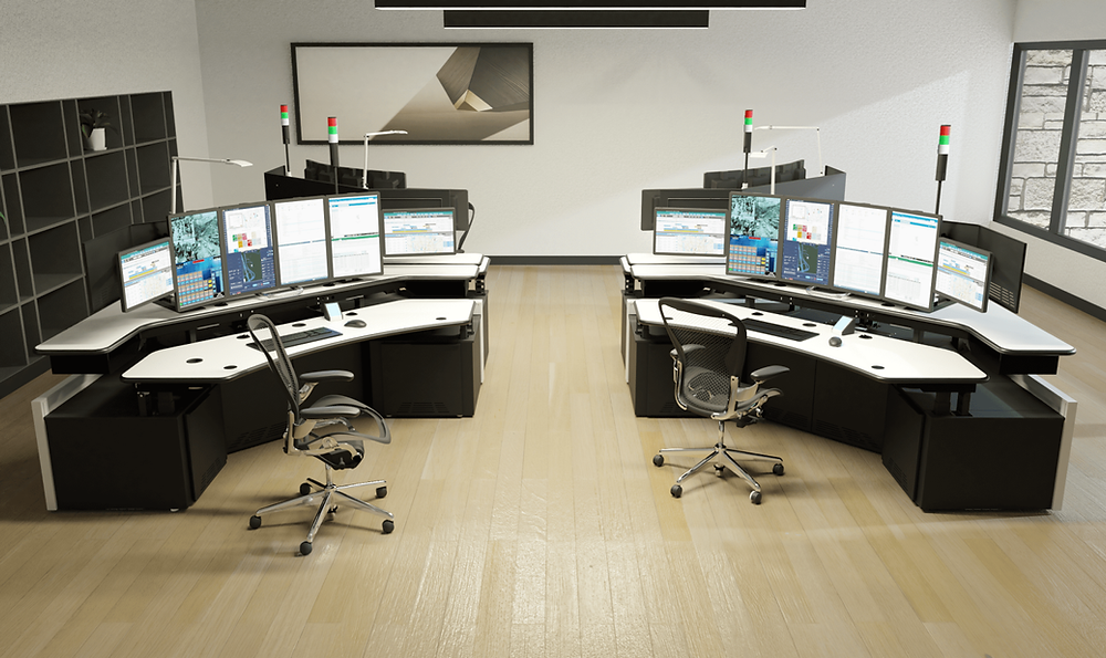 two 911 dispatch workstations inside the PSAP