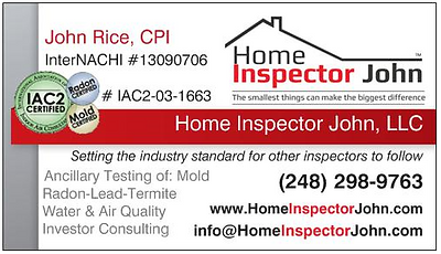 home inspector john business card