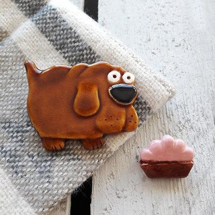 Ceramic Dog Brooch with Bowl
