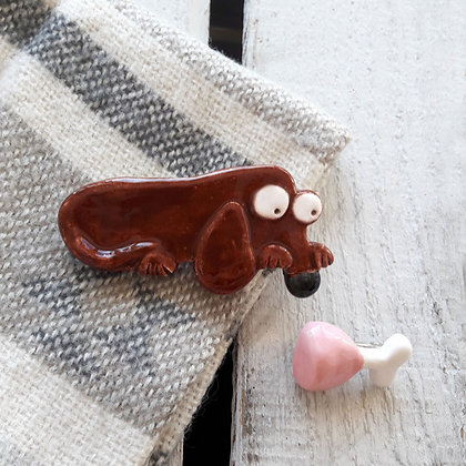 Ceramic Dog Brooch with ham