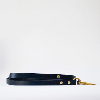 Navy Leather Dog Lead
