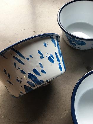 ENAMEL FOOD BOWL / Blue paint(small)