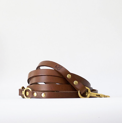 Brown Leather Adjustable Long Dog Lead
