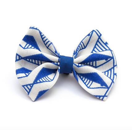 Geo Blue Dog Bow Tie