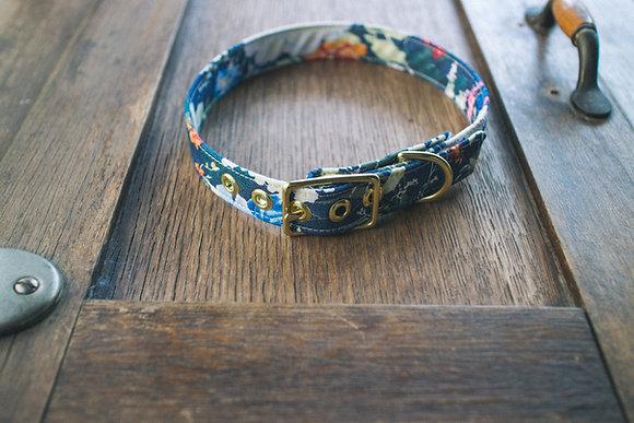Hibiscus + Brass Dog Collar