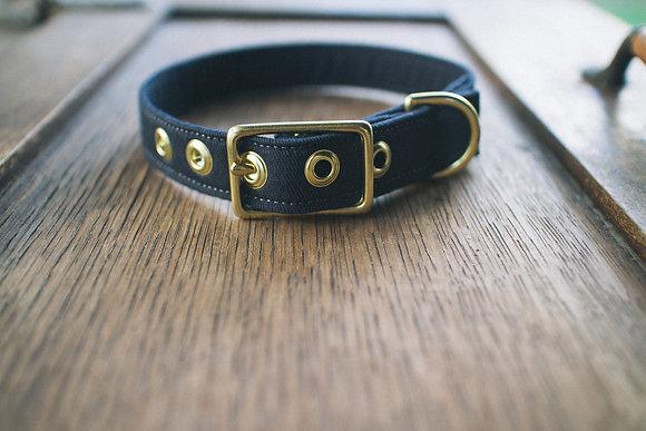 Navy Twill + Brass Dog Collar
