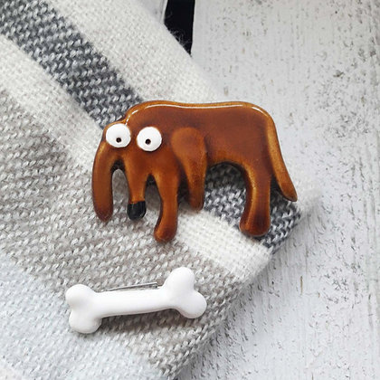 Ceramic Dog Brooch with with Bone