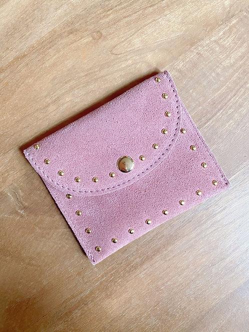 Mini pochette en cuir rose