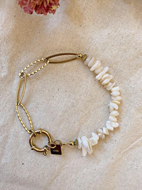 Bracelet maille et nacre blanc
