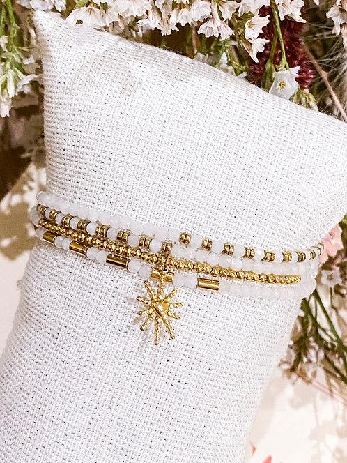 Bracelet perles 4 rangs et coeur soleil - MAYANA