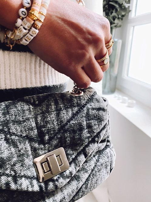 Mini sac en coton délavé noir - IMAN