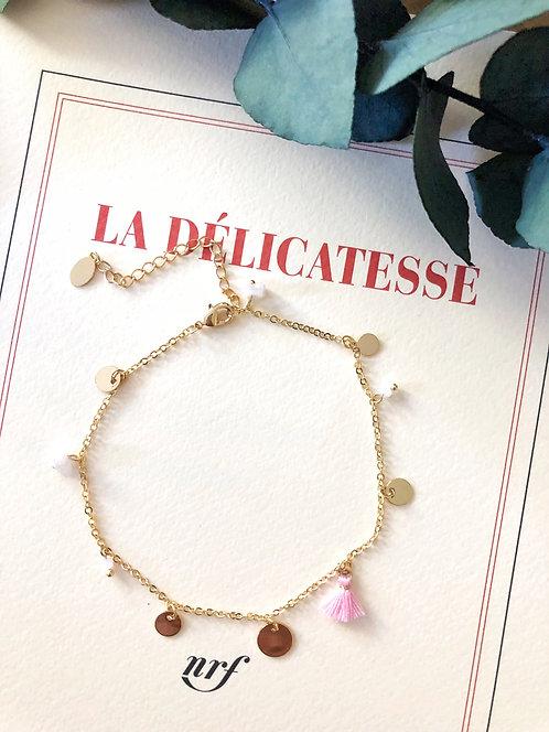 Bracelet de cheville à pompon rose - JENNA