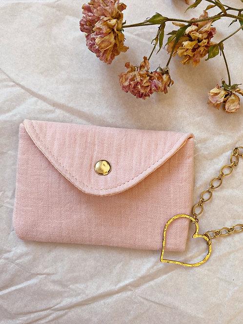Mini pochette en gaze de coton rose pâle